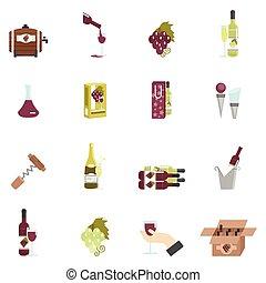 plat, wijntje, pictogram