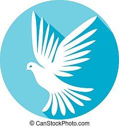 plat, wit dove, pictogram