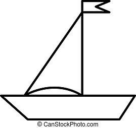 plat, witte , scheepje, illustratie
