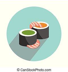 plat, witte , set, sushi, achtergrond