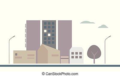 plat, wolken, landgoed, stad, gebouwen, huisvesting, bomen, hemel, illustratie, ontwerp, onder, lampen