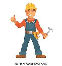plat, woning, aannemer, beroep, vector, constructor, man, of, pictogram