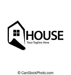 plat, woning, ontwerp, logo, mal, liggen