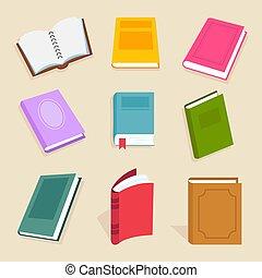 plat, woordenboek, iconen, wetenschap, vector, boekjes , schoolboek, encyclopedie, documents., lezende , open