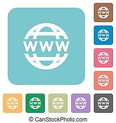 plat, www, globe, icônes