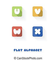 plat, x-, alphabet, bouton, conception, w, v, u