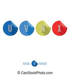 plat, x-, alphabet, bouton, papier, conception, w, v, u