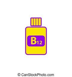 plat, yellow-violet, vitamine b12, colors., pictogram