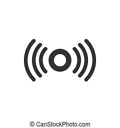 plat, zakelijk, concept., vrijstaand, illustratie, style., motie, achtergrond., verbinding, vector, golven, veiligheid, sensor, witte , pictogram