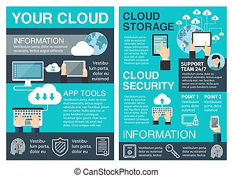plat, zakelijk, gegevensverwerking, poster, ontwerp, wolk