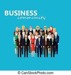 plat, zakelijk, l, illustratie, community., vector,...