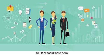 plat, zakenlui, directeur, ontwerp, menselijk, team, middelen