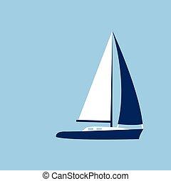 plat, zeil, jacht, illustratie, vector, scheepje, pictogram