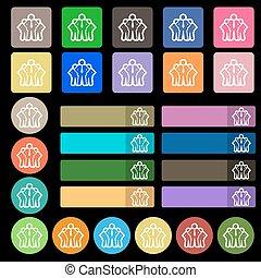 plat, zeven, set, zakelijk, twintig, teken., veelkleurig, vector, team, pictogram, buttons.