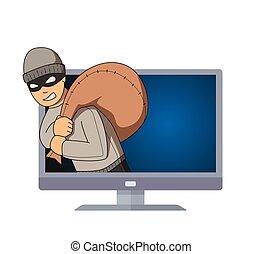 plat, zijn, inbreker, monitor, zak, karakter, vrijstaand, springt, shoulder., achtergrond., vector, gemaskerd, tv., witte , crimineel, uit, illustration.