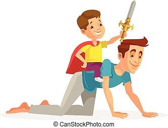 plat, zoals, vader, rijden, karakter, illustratie, zoon, vector, horse., spotprent