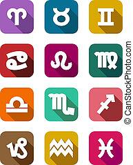 plat, zodiac, communie, iconen