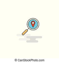plat, zoeken, vector, plaats, icon.