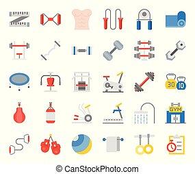 plat, zulk, fiets, klok, gym, ketel, het stompen, uitrusting, trainer, gym, bankje, fitness, elliptisch, pictogram, trampoline, tredmolen, zak, grippers