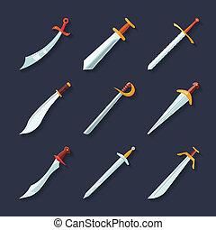 plat, zwaard, pictogram