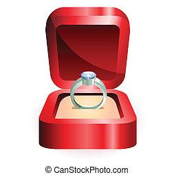 plata, anillo, en, un, caja roja