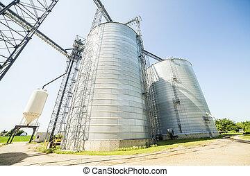 plata, brillante, agrícola, silos