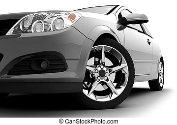 plata, coche, en, un, fondo blanco