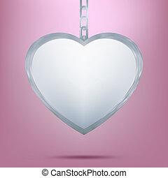 plata, colgante, en forma, de, corazón, en, chain., eps, 8