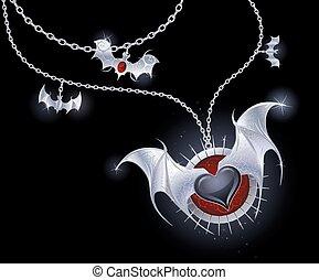 plata, corazón, de, un, vampiro