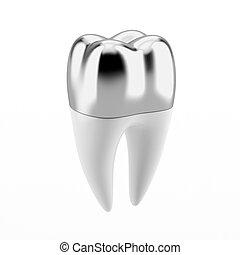 plata, dental, corona