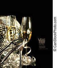 plata, fiesta, zapato, con, copas de champán