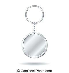 plata, llavero, círculo, forma
