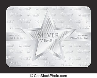 plata, miembro, club, tarjeta, con, estrella grande