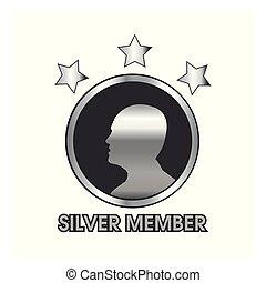 plata, miembro, con, humano, y, estrella, icono, tela, icono