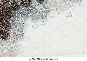 plata, navidad, copos de nieve, y, piñasdel pino, anidado, en, hielo