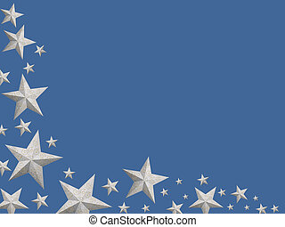 plata, navidad, estrellas, (isolated)