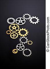 plata, oro, metálico, concepto, engranajes, conectado, /,...