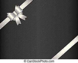 plata, regalo, cinta, con, regalo, papel