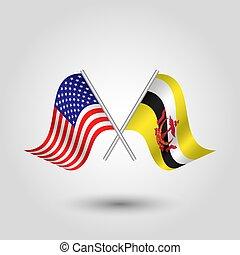 plata, símbolo, -, bruneian, banderas, estados, palos, américa, unido, dos, vector, brunei, cruzado, norteamericano