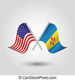 plata, símbolo, -, estados, banderas, palos, américa, madeira, unido, dos, vector, madeirense, cruzado, norteamericano