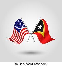 plata, símbolo, -, timor, timorese, estados, banderas, este, palos, américa, unido, dos, vector, cruzado, norteamericano