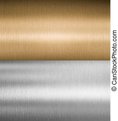 plata, y, bronce, metal, texturas