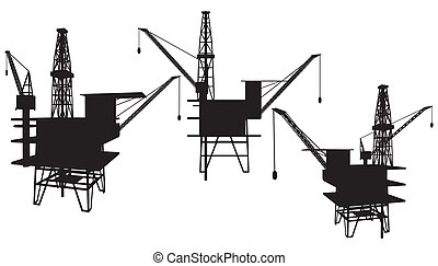 plataforma, óleo perfura