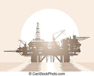 plataforma, óleo, rig., mar