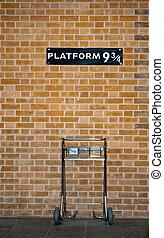 plataforma, 9, 3/4, y, tranvía