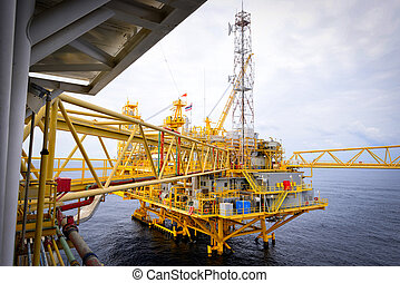 plataforma, aceite, costa afuera, mar, aparejo