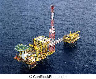 plataforma, aceite, driling