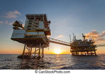 plataforma, aceite, gas, golfo