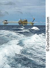 plataforma, aceite, gas, perforación