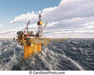 plataforma, aceite, océano tempestuoso